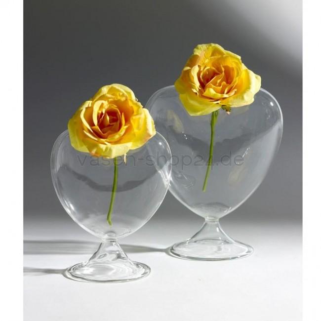 Mini Vase Aus Glas Herz Auf Fuss H 10cm